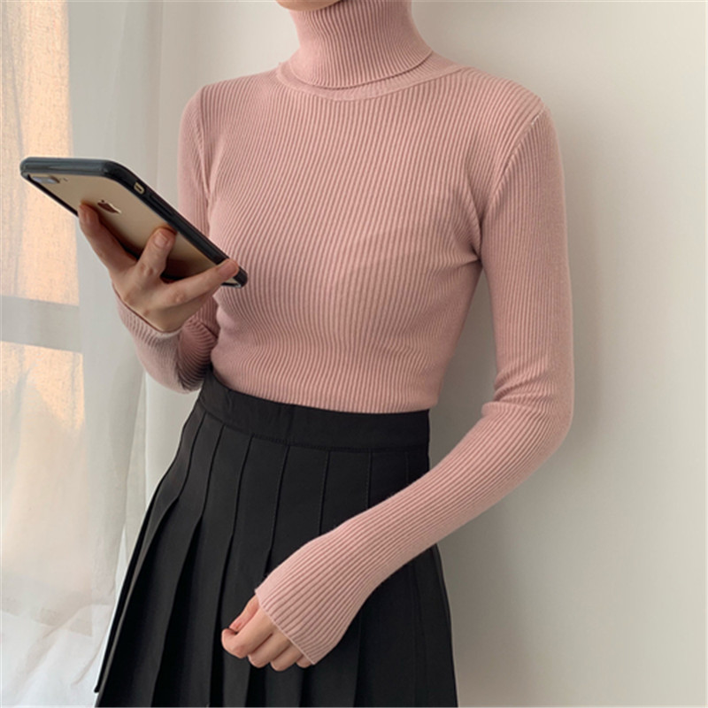 Special  New Long-sleeved Knit Sweater With Autumn And Winter Black Bottoming Shirt Turtleneck Sweater Outer Wear Women's Shirt