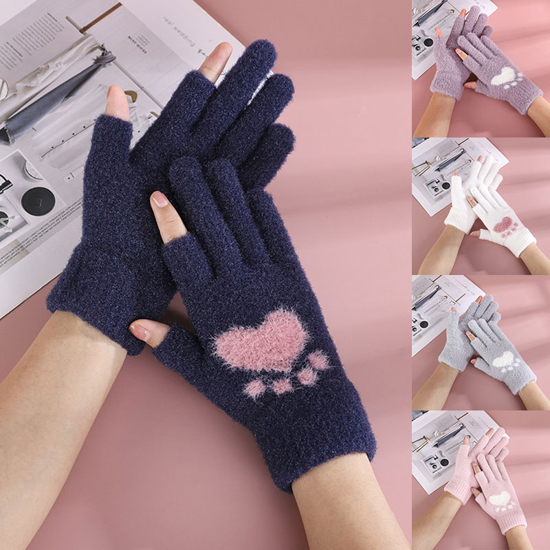 Lovely Elegant Touch Screen Gloves Delicate Warm Breathable Comfortable Bear Paw Print Gloves Soft Knitting Warm Cute Gloves