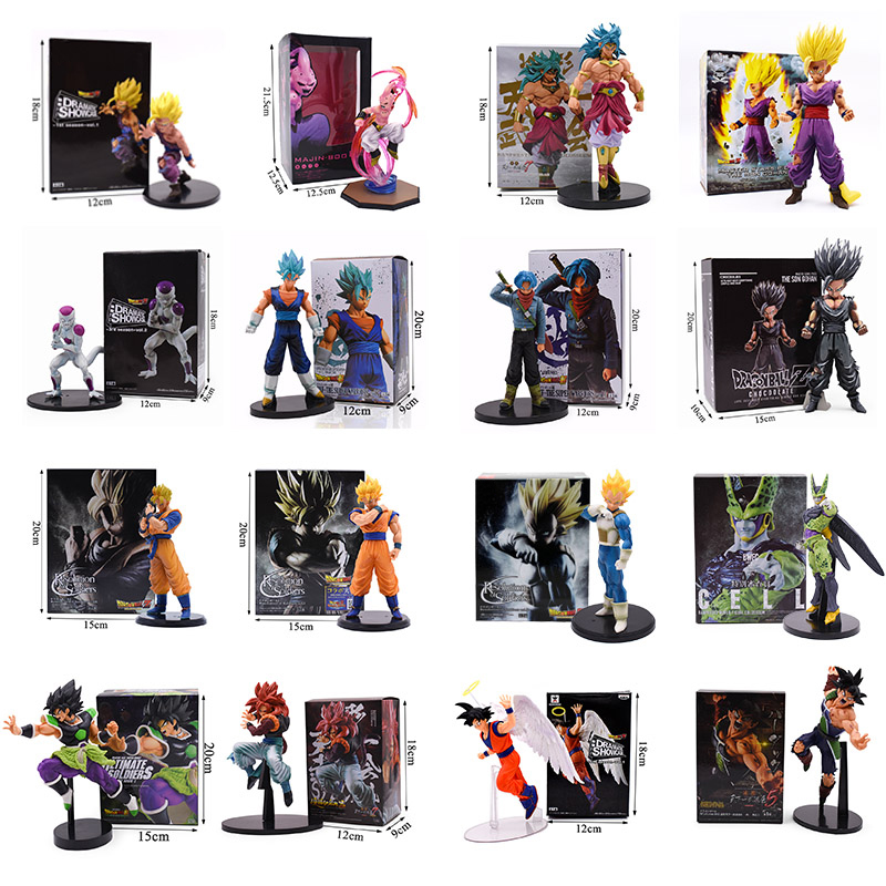 11-23CM Dragon Ball Z Super Goku Son Gohan Broly Vegeta Cell Frieza Buu Broli Trunks Burdock PVC Action Figures Collectible Toys