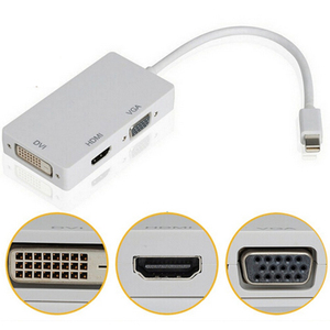 HMDI Converter Mini 1080P Display Port Thunderbolt to DVI VGA HDMI 3 in 1 Converter Adapter for Apple Mac Book Pro Air iMac(China)