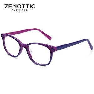 Image 3 - Zenottic Acetaat Kinderen Brilmonturen Meisjes Jongens Bijziendheid Optische Bril Anti Blue Ray Lens Bijziendheid Recept Brillen