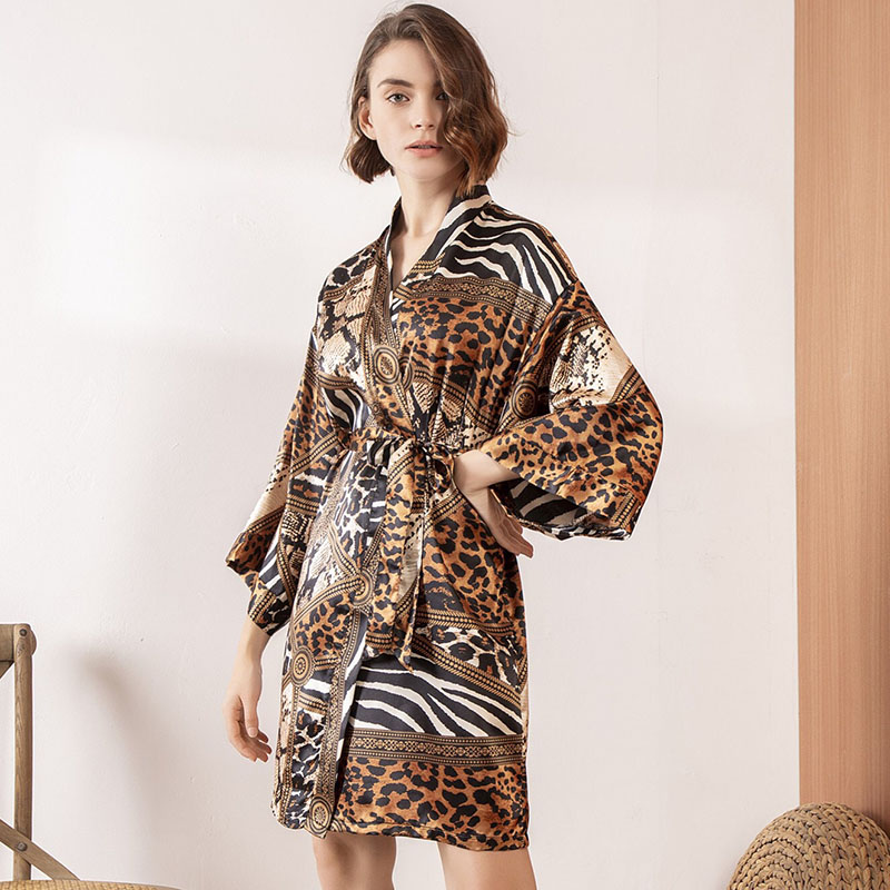 Ladies Nightgown Sexy Silk Satin Robe Women Leopard Print Sleepwear Comfort Loose Soft Dress Femme Homewear For Spring And Fall