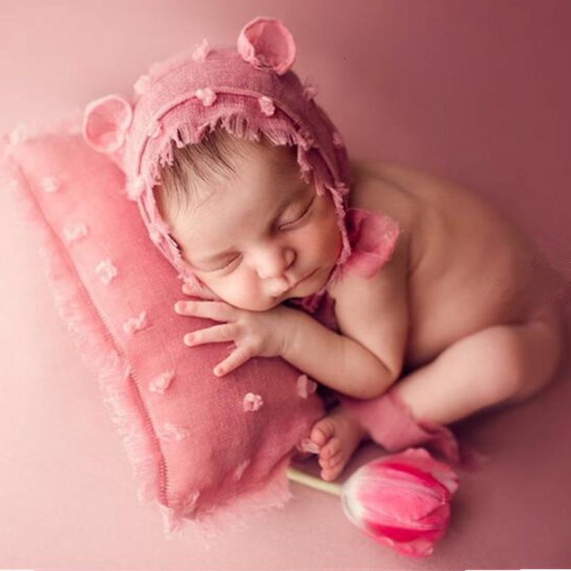 Newborn Photography Props Accessories Baby Photography Linen Hat+Pillow Set Baby Photo Props Accessory Studio Fotografia Hats