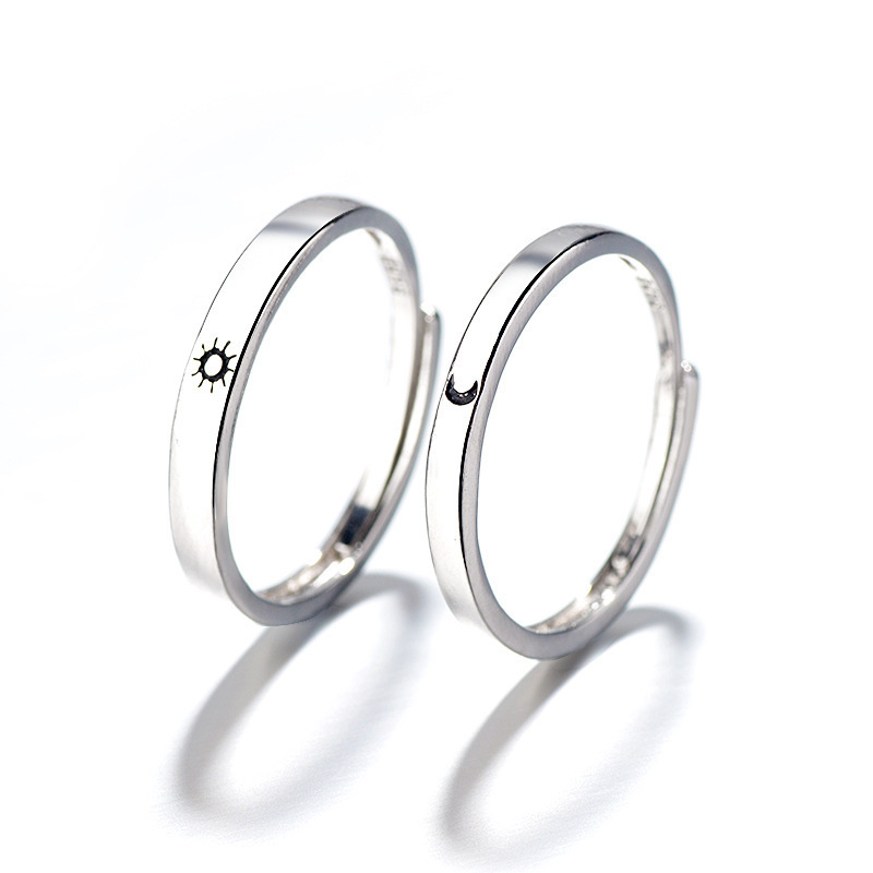 Fashion Simple Opening Sun Moon Ring Minimalist Silver Color Sun Moon Adjustable Ring For Men Women Couple Engagement Jewelry 3
