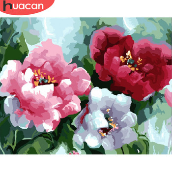 HUACAN Coloring By Numbers Flowers Peony HandPainted Oil Painting Drawing Kits Canvas DIY Pictures Home Decoration Gift