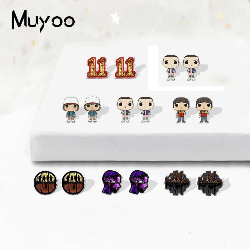 New Stranger Things Cute Cartoon Characters Joyce Byers Eleven Epoxy Acrylic Resin Earrings Terror TV Show Earrings(China)