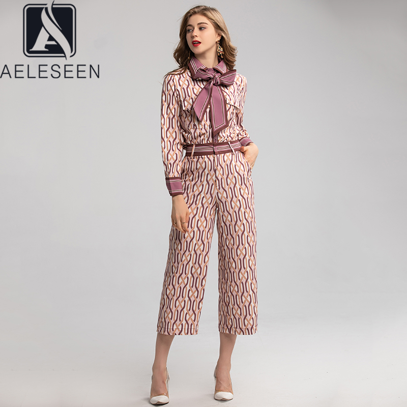 AELESEEN 2020 Spring New Fashion Office Lady Runway Print Twinset Women Elegant Bow Tie Blouse + Nine Pantes Strips Print Suit