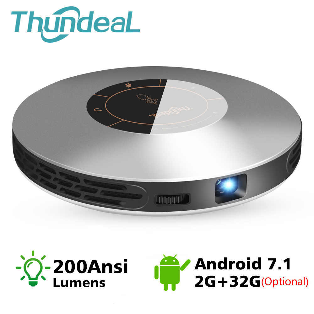 Thundeal DLP Proyektor T18 Max WIFI Android 7.0 Pico Pocket HDMI untuk 4K 2K 16G 32G mini LED Projector 3D T18MAX Portabel Beamer