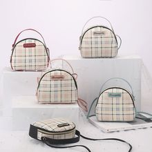 Vintage British Plaid Shoulder Bag Shell Package Fashion Contrast Printing Wild Phone Handbags Factory Direct Tide mfd epson l566 printing factory 0 0 12