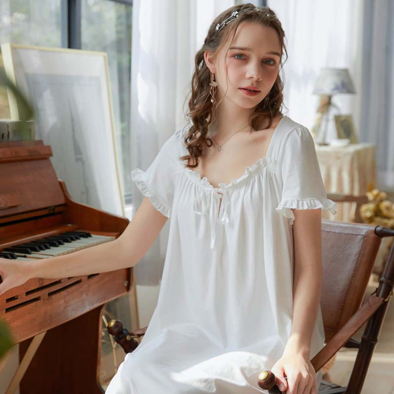 Roseheart Women White Blue Sexy Sleepwear Homewear Night Dress Lace Nightwear  Luxury Nightgown Female Gown Classical