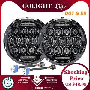 Image 1 - CO LIGHT 7 Round LED Headlights 75W 35W High Low Beam Halo Angle Eyes DRL For Jeep Wrangler JK JL TJ LJ CJ Land Rover 12V 24V