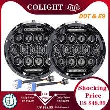 CO ışık 7 yuvarlak LED farlar 75W 35W yüksek düşük işın Halo melek gözler DRL için Jeep wrangler JK JL TJ LJ CJ Land Rover 12V 24V