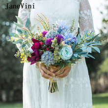 Janevini 2020 элегантный свадебный букет ручной работы Шелковые