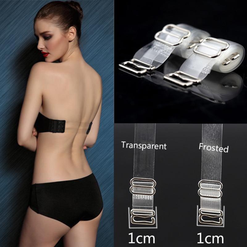 1 Pair 1cm Wide Clear Transparent Invisible Adjustable Shoulder Bra Straps Strap Invisible Underwear Accessories