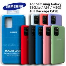 Galaxy s10lite caso original samsung a91 capa de silicone de seda de alta qualidade macio-toque de volta protetora galaxy m80s s10 lite