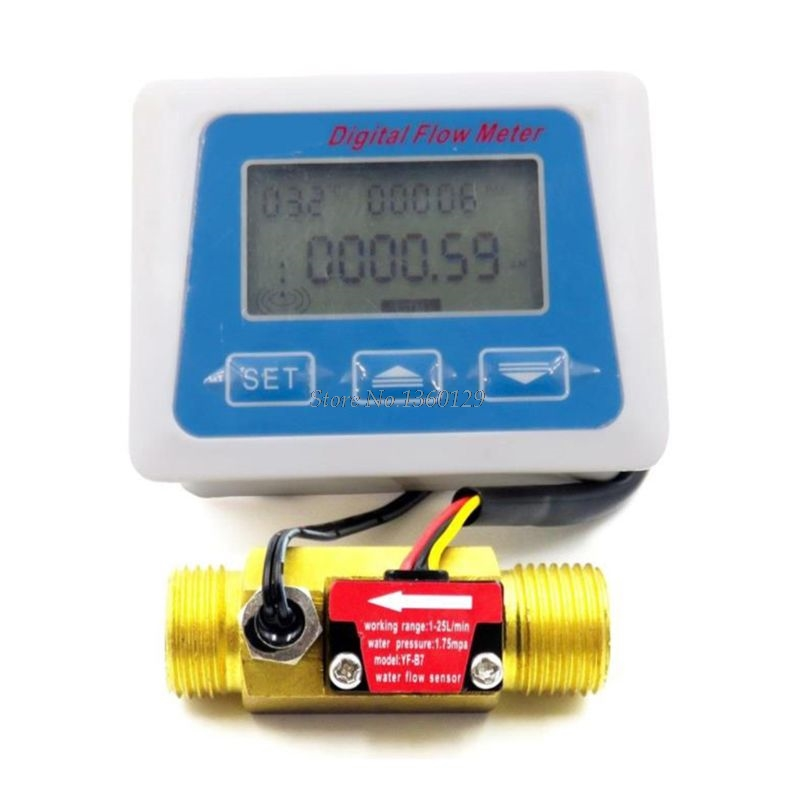 Digital LCD Display Water Flow Sensor Meter Flowmeter Totameter Temperature Time Record With G1/2 Flow Sensor Whosale&Dropship