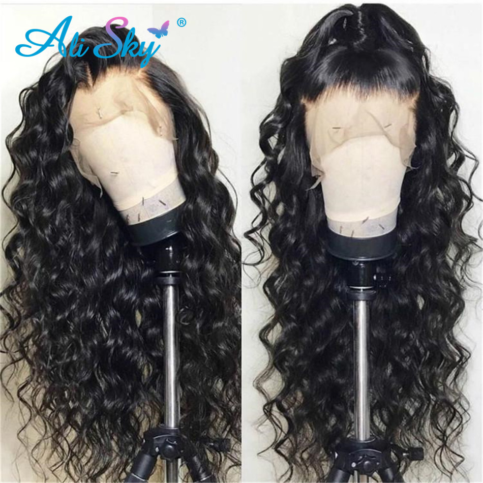 Big Sale¦Alisky Brazilian Water Wave Wig 13x6 HD Transparent Lace Wig Water Wave Lace Front Human Hair Wigs PrePlucked 180% Remy Hair Wig