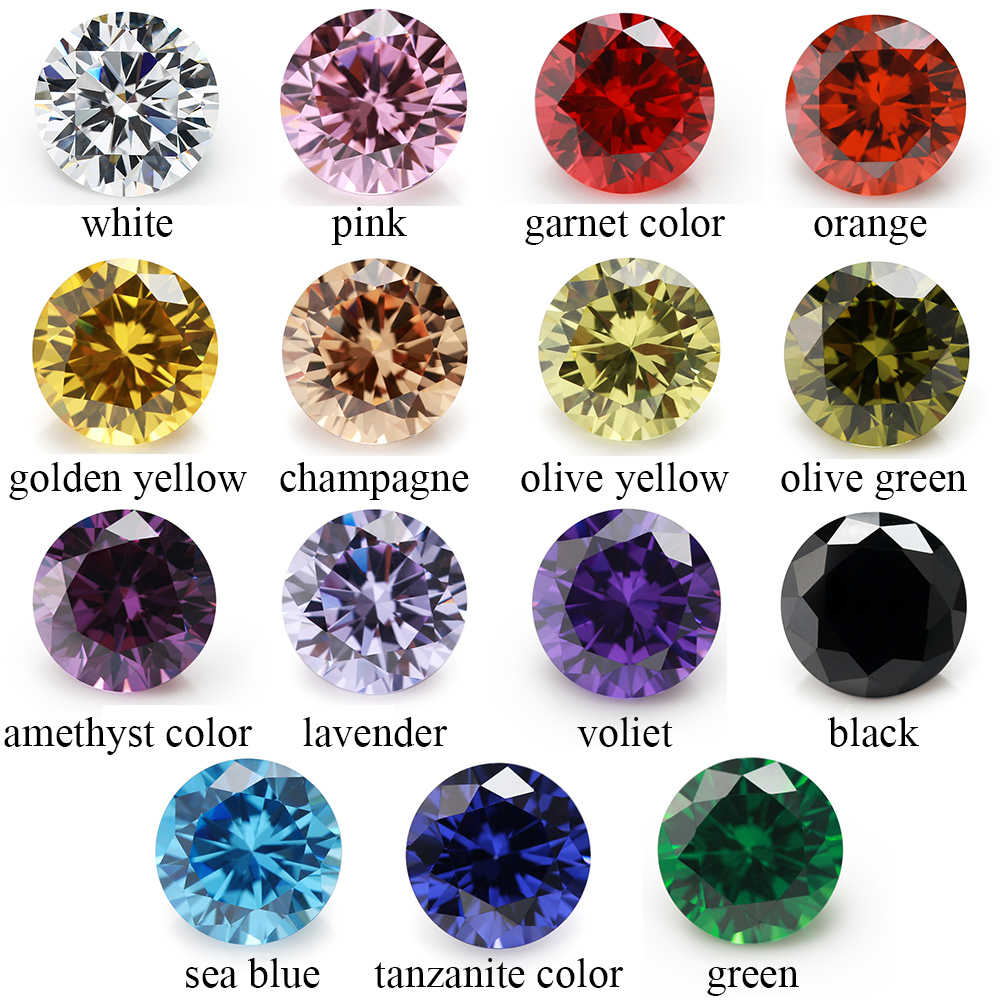 1PCS Per Colors Total 15pcs 5A Round Mix Color Cubic Zirconia CZ Loose Stones For Jewlery Diy