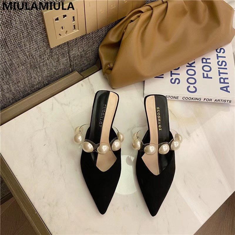 MIULAMIULA Brand Designer 2020 Summer New Luxury Pearl Band Pointed Toe Shallow Kitten Heels Lady Pumps Loafers Mules Flip Flops