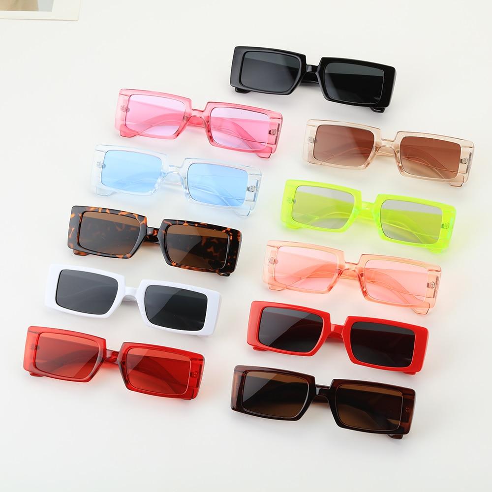 Occhiali da sole Vintage Color caramella con montatura larga occhiali da sole rettangolari piccoli occhiali da sole estivi femminili UV400 occhiali alla moda all'ingrosso 1