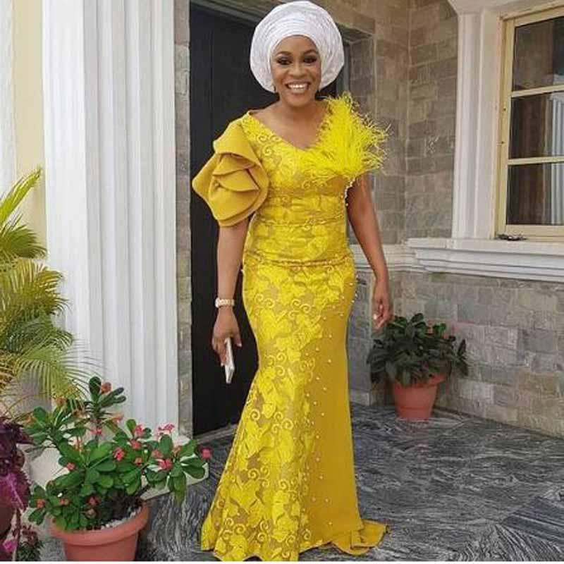 African Appliqued Lace Pearls Mermaid   Prom     Dresses   Floral Print Short Sleeve V-neck Floor Length Evening Gown vestidos de gala