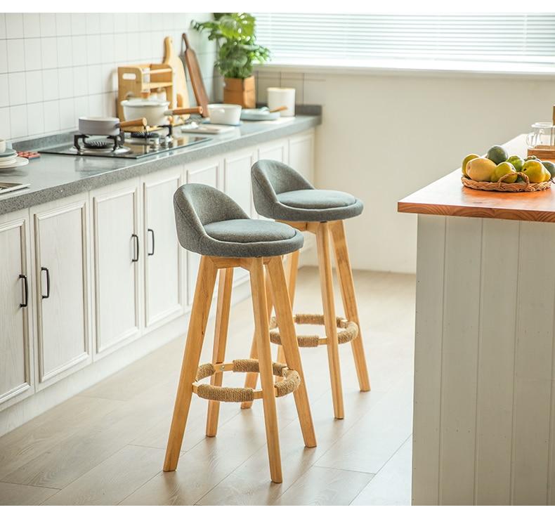 Bar Chair Solid Wood Bar Chair Front Desk Chair Modern And Simple Milk Tea Shop High Stool Home Revolving Creative Bar Chair