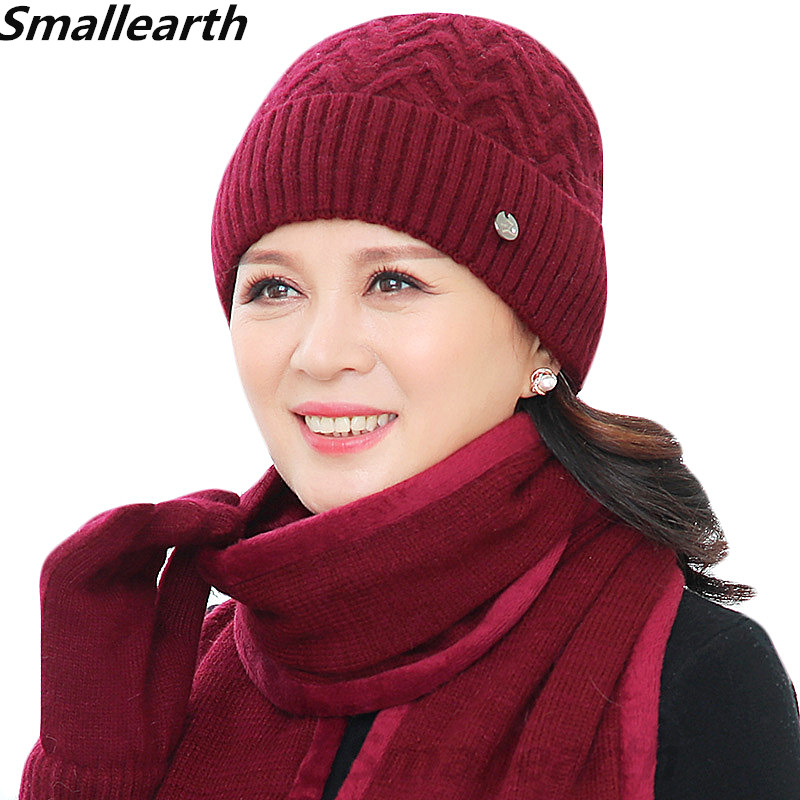New Winter Women Rabbit Fur Hat Scarf Glove Set Warm Wool Knitted Plush Scarf 3pcs Set Crochet Bonnet Mom Cap Thick Fleece Shawl