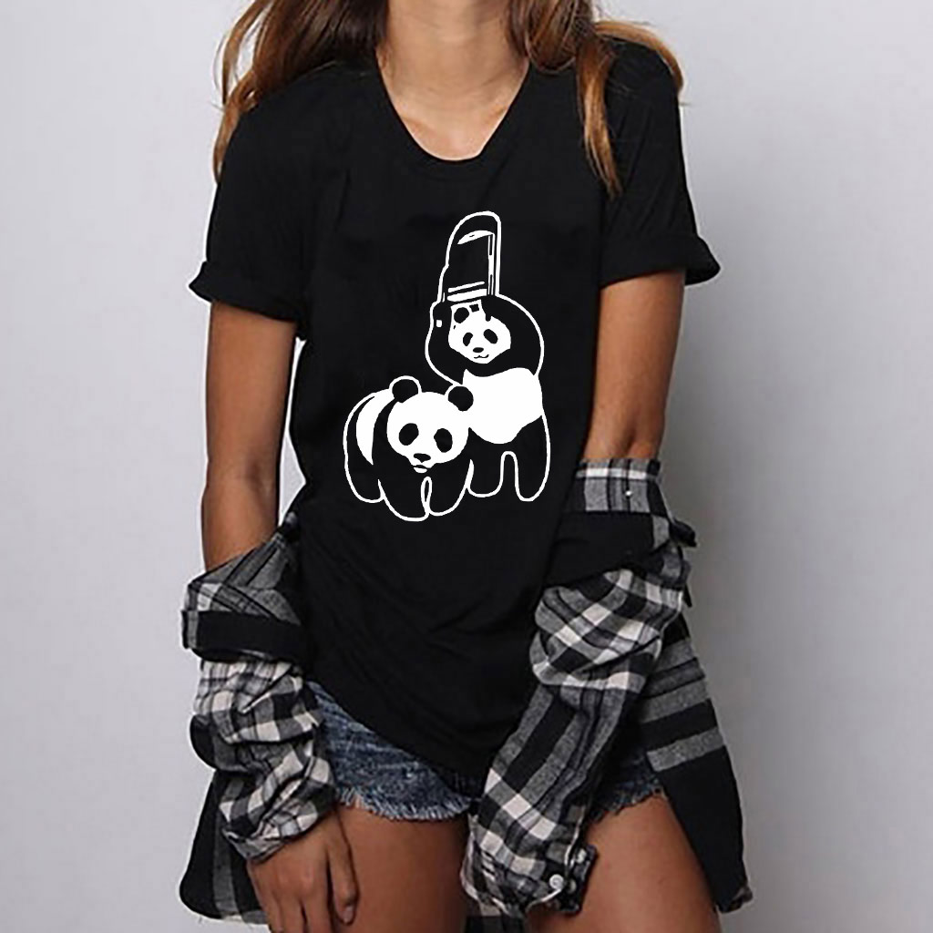 Hillbilly Harajuku Sexy Panda Print T Shirts For Women Casual Cotton Lovely Short Sleeve Tops Funny New Arrival Top Tee Femme