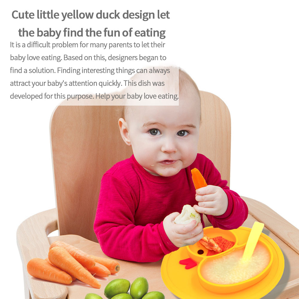 durable microwave safe children kids toddler placemat daily silicone plate baby duck dish home travel meal fruits strong suction