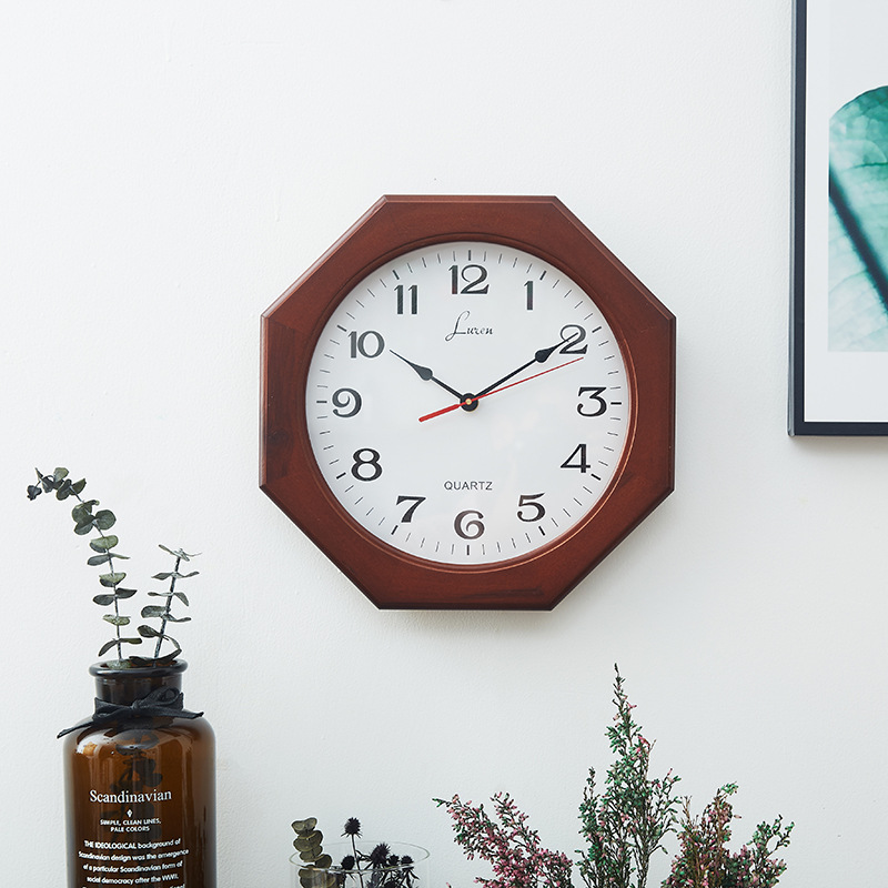 Wood Wall Clock Europe And America Clock Creative Living Room Wood New Chinese Style Mute Modern Logs Foreign Trade Wholesale Cu