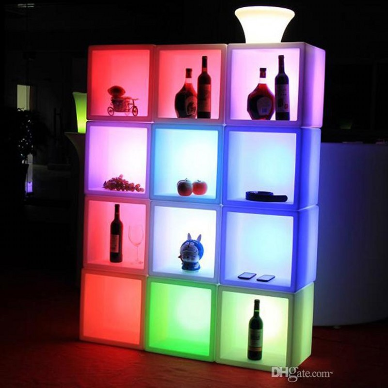 Led Furniture Waterproof Led Display Case 40CMx40CMx40CM Colorful Changed Rechargeable Cabinet Bar KTV Disco Party Decorations