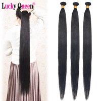 32 34 36 38 Inch Bundles Peruvian Straight Human Hair Weave Long Remy Hair Extensions Medium Ratio 1/3/4 Bundles Lucky Queen