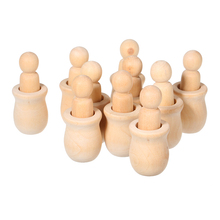 Promotion--10Pcs Wooden Peg Dolls Unfinished Crafts Diy Paint Stain Kid'S Party Favor Wedding Home Decor Wood Craft People Nesti 10pcs wooden unfinished diy craft peg dolls wood diy toy arts sewing crafts peg doll puppet bases cute bobble head dolls
