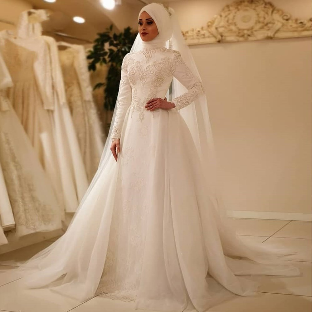 Vestido De Noiva Elegant Long Sleeve O Neck Muslim Wedding Dresses Tulle Zipper Back Lace Islamic Wedding Gowns