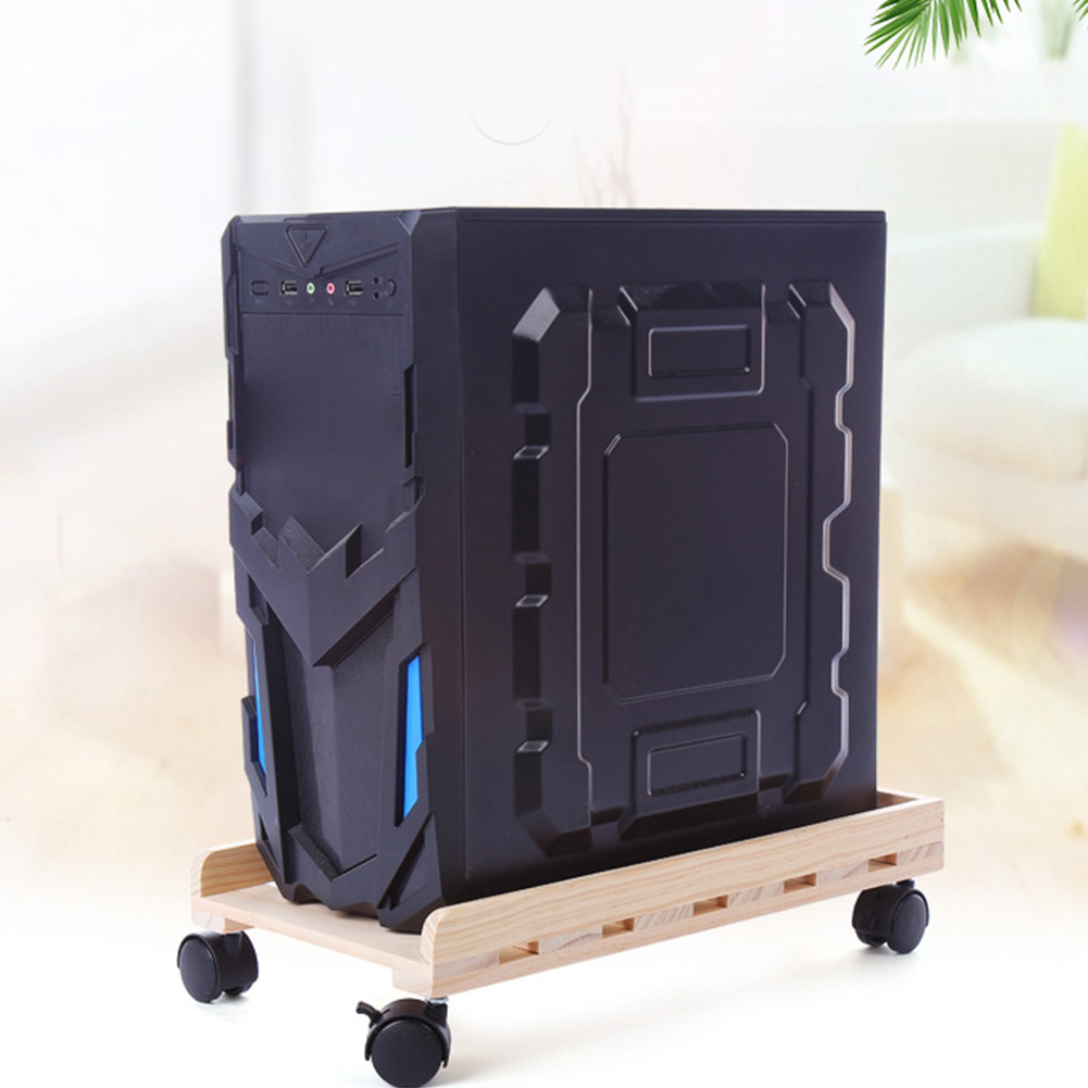 Tray Moving CPU Stand Case Holder Computer Adjustable Office Desktop Wooden Heat Dissipation PC Caster Tower Rolling Wheels