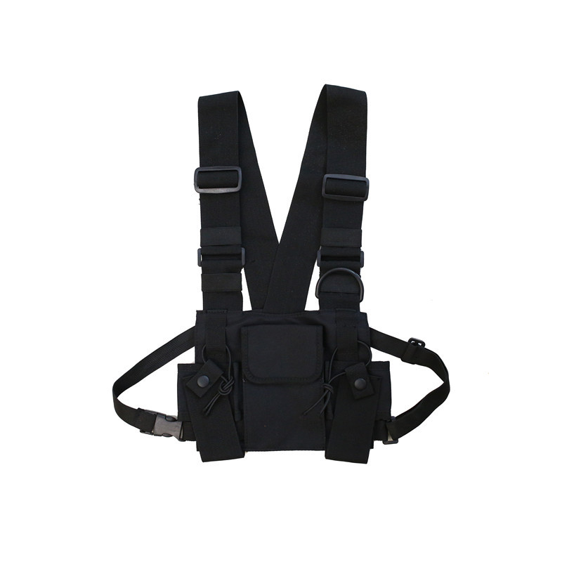 HOT-Radio Walkie Talkie 3 Pocket Chest Pack Bag Harness With Zipper For Motorola Baofeng Kenwood Front Pack Vest Pouch Carry Cas