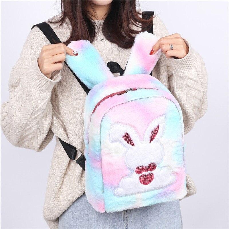 Backpack For Women 2020 Winter LED Light Faux Fur Hologram School Bags Teenage Girls Cute Rabbit Plush Backpack Mochila Easter