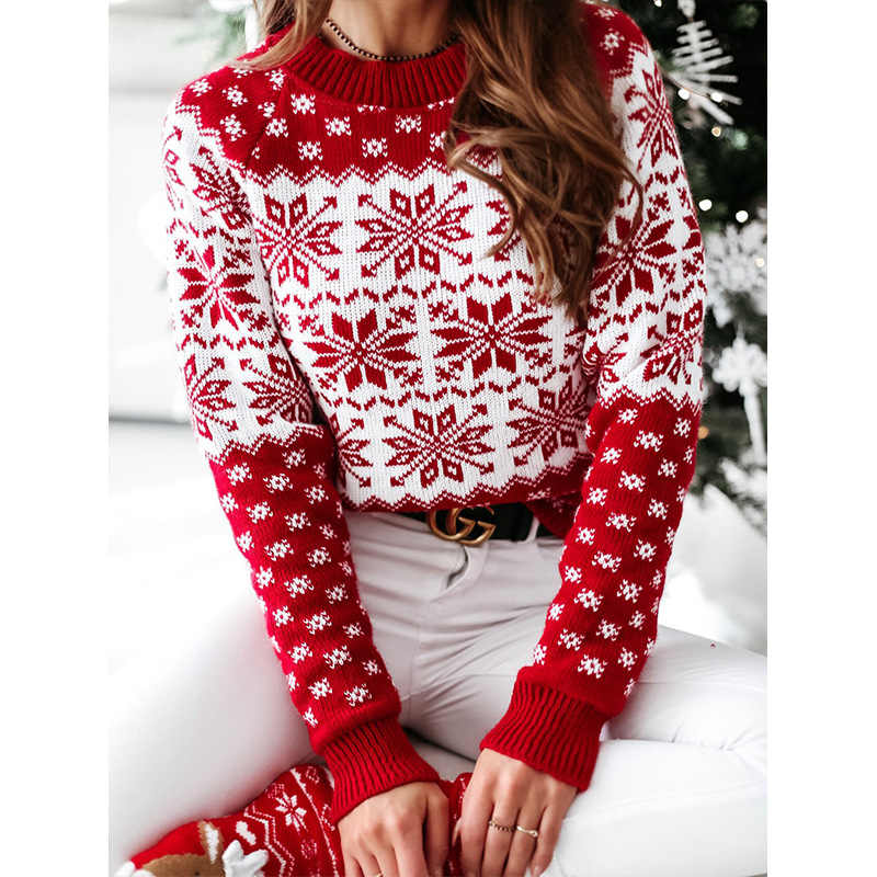 2021 Womens Casual Print Long Sleeve Pullover Tops Lightweight Sweatshirt Chirstmas Crew Neck Pullover Tops Blouse