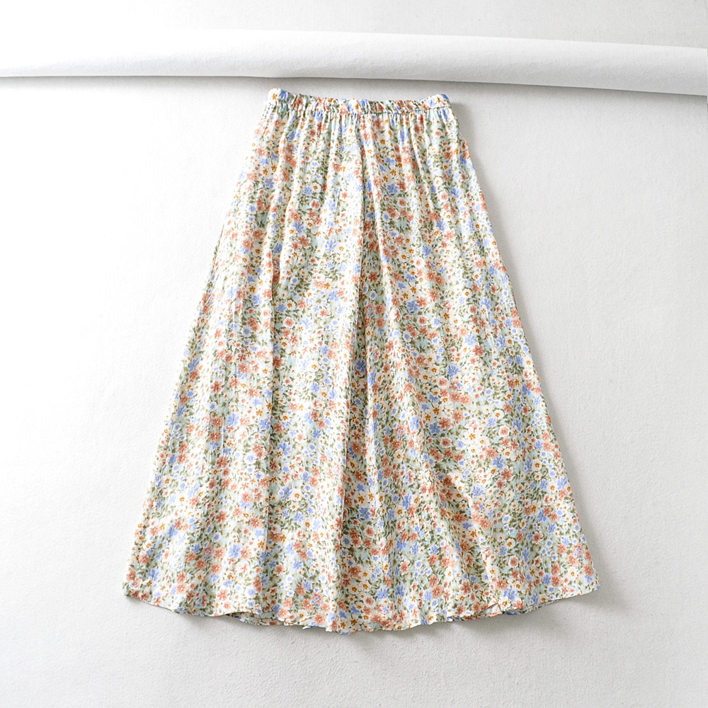 2020 New Women Floral Print Pleated Skirt Faldas Mujer Ladies Elastic Waist Vestidos Retro Casual Big Swing Skirts QUN567