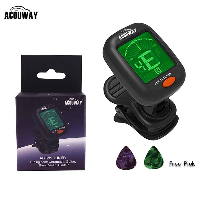 Acouway Guitar Ukulele Tuner Violin Bass Electronic Tuning Tuner Clip-On Chromatic tuner 360 degree rotate with 5 tuning model