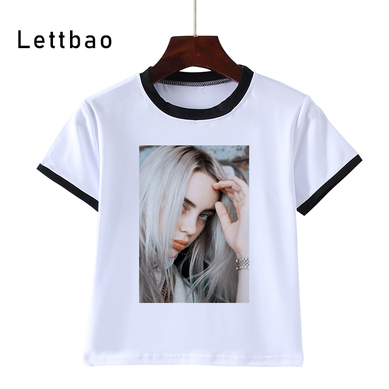 3-14T Kids Toothless Billie Eilish Print Fashion T Shirt WHITE T Shirt Children'S White Tee