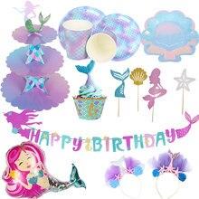 MEIDDING 1 zestaw mała syrenka urodziny fioletowy jednorazowe zastawy stołowe talerze kubki na serwetki syrenka materiały urodzinowe