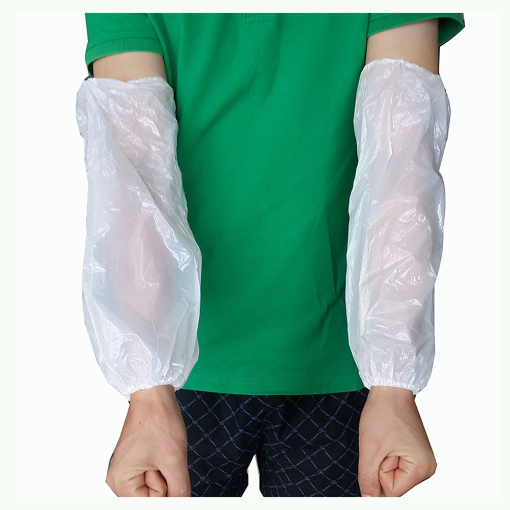 100 Pcs Non Toxic Sleeves Cover Protective Arm Durable Salon Household Plastic Hotel Elastic Waterproof Cleaning Disposable