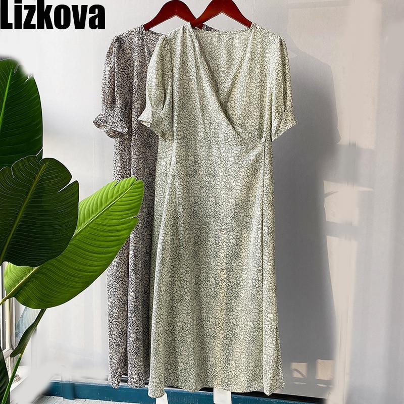 2020 Summer Floral Chiffon Dress Women V-neck Short Sleeve Bandage Dress Elegant Puff Sleeve Vinatge Casual Dress