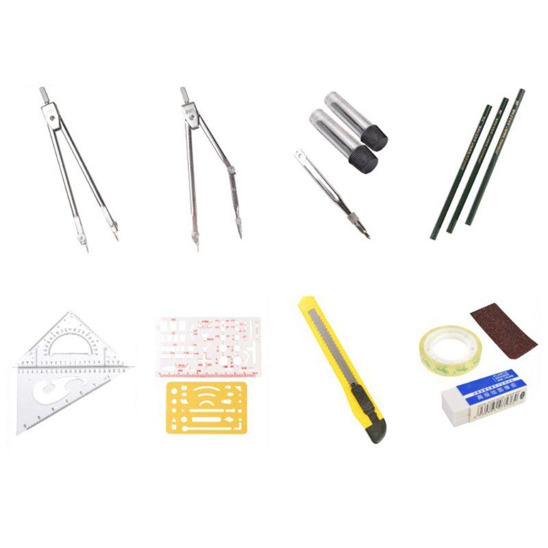 16pcs/set Drafting Compass Set Drawing Templates Pencil Student School Supplies