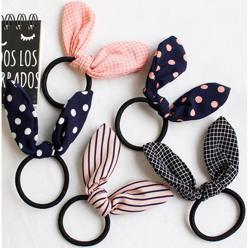Korean Girls Lovely Rabbit Ear Elastic Hair Bands Cute Hair Ties Striped Dot Rubber Hair Rope Gum Women Kids Hair Accessories