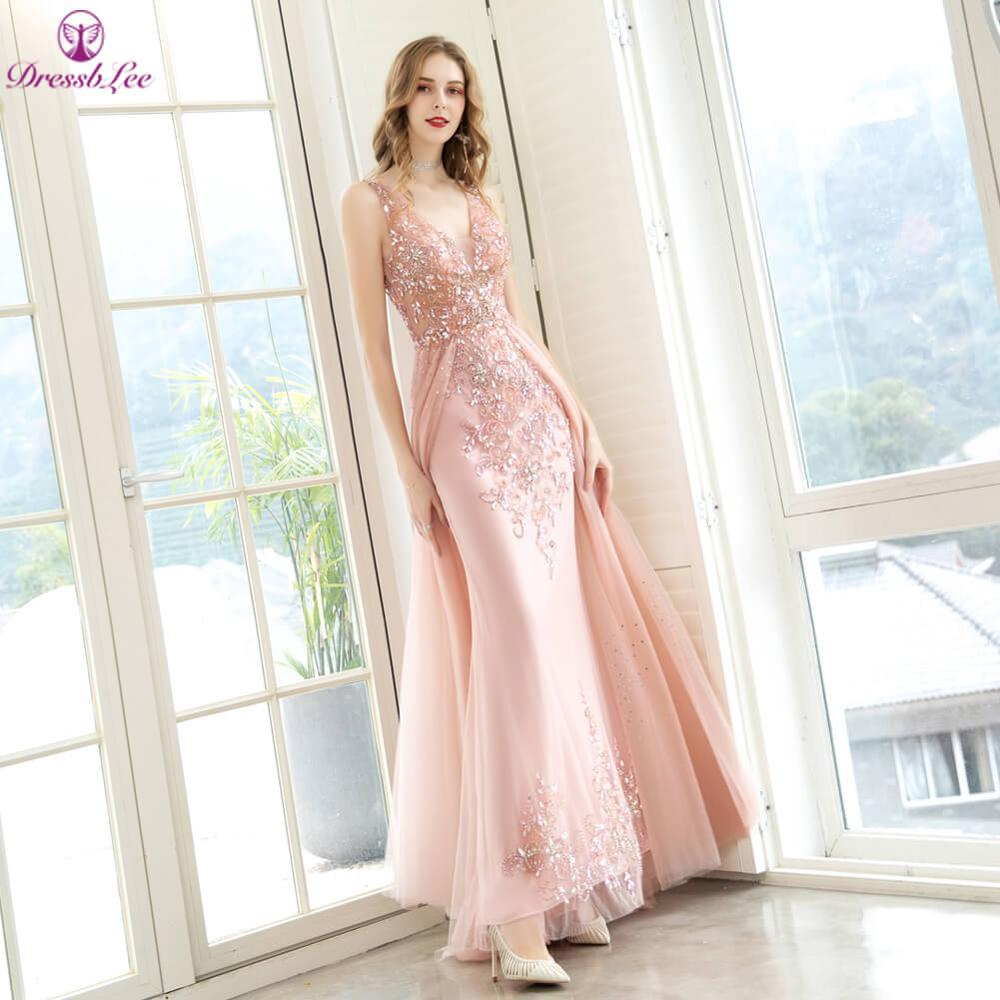 2020 Luxury Sparkle Crystal Pink Plus Size Evening Dresses V-Neck Backless Transparent Formal Party Gowns Long Evening Dress