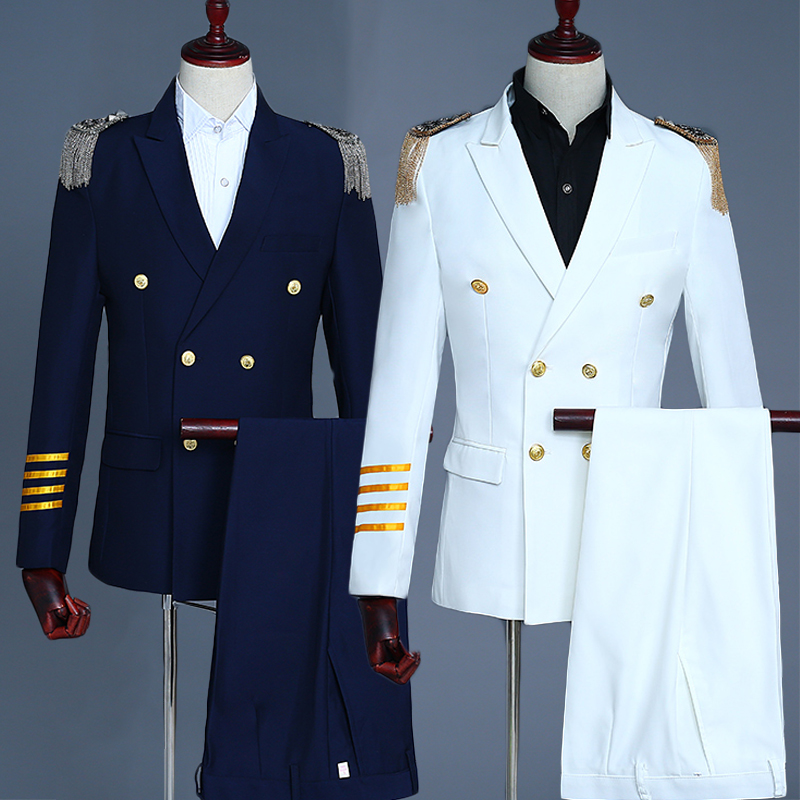 White Navy Blue Mens Captain Suits Coat Pant Men Groom Wedding Suit Blazer Hombre Slim Fit Singer Dj Ds Dance Stage Wear DT1485