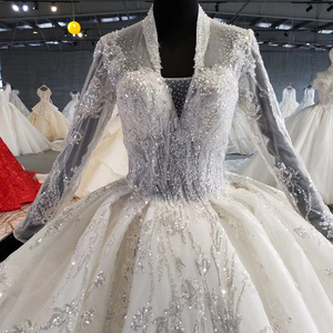 Image 5 - HTL1028 wedding dress long sleeve lace top 2020 v neck appliques sequined white women wedding gown with train vestidos de noiva