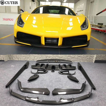 488 GTB Carbon fiber front bumper lip Back Bumper Spoiler lip Diffuser rear spoiler wings for Ferrari 488 N style Car body kit